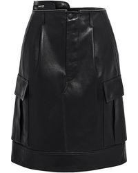 Helmut Lang Zip-detailed Pleated Leather Skirt Black