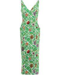Stella Jean Cotton-blend Midi Dress Green