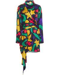 Ronny Kobo Draped Silk-blend Satin-jacquard Mini Dress Multicolour