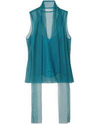 Carolina Herrera Tie-neck Flocked Tulle Top Teal - Blue