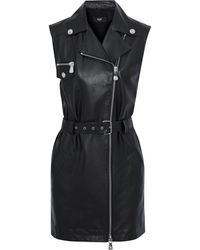 Versus Belted Leather And Crepe Mini Dress Black