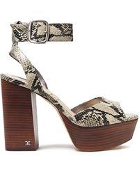 Sam Edelman Rain Snake-effect Leather Platform Sandals Animal Print - Multicolor