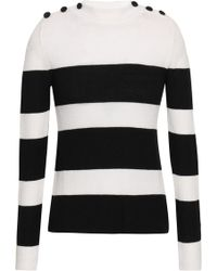 Anine Bing Button-detailed Striped Intarsia-knit Jumper White