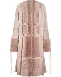 Alexander McQueen - Lace-up Leather And Shearling Coat - Lyst