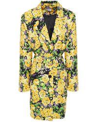 Gestuz Belted Floral-print Twill Blazer - Yellow