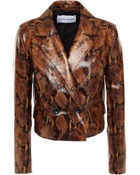 Stand Studio Double-breasted Faux Snake-effect Leather Blazer Animal Print - Multicolour