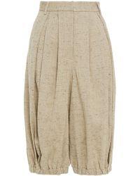 Tibi Donegal Tweed Shorts - Natural