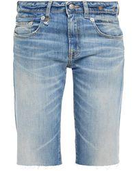R13 Boy Straight Faded Denim Shorts Mid Denim - Blue