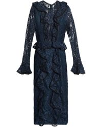 Alexis Ruffle-trimmed Corded Lace Dress - Blue
