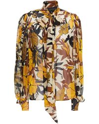 Dundas Pussy-bow Printed Silk-voile Blouse - Natural
