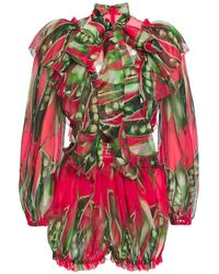 Dolce & Gabbana Pussy-bow Ruffle-trimmed Silk-organza Playsuit - Red