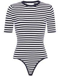 Michael Kors Striped Stretch-knit Bodysuit Midnight Blue