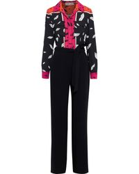 Diane von Furstenberg Sterling Belted Printed Crepe Wide-leg Jumpsuit - Black