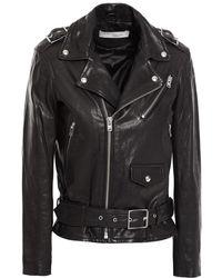 IRO Anoh Leather Biker Jacket Black