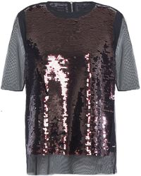 McQ Sequined Tulle Top Black