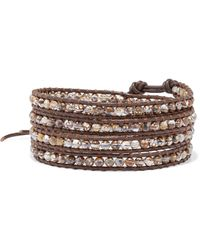Chan Luu Leather And Silver-tone Multi-stone Wrap Bracelet Brown