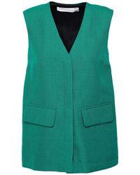 Victoria, Victoria Beckham Satin Crepe-paneled Woven Vest - Green