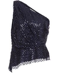 Michelle Mason One-shoulder Draped Sequin-embellished Silk Top - Blue