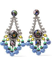 Elizabeth Cole Hematite-plated, Gold-tone, Stone, Crystal And Bead Earrings - Blue
