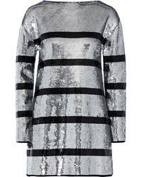 Sonia Rykiel Striped Sequined Stretch-knit Mini Dress Silver - Metallic