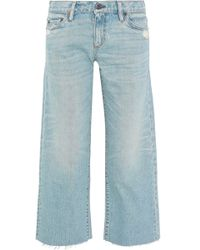 Simon Miller - Cropped Distressed Low-rise Wide-leg Jeans - Lyst