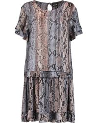Pleated Snake-print Voile Mini Dress