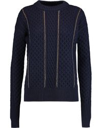 MICHAEL Michael Kors Chain-embellished Cable-knit Jumper - Blue