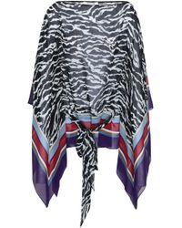 Roberto Cavalli Draped Zebra-print Silk-georgette Blouse Black