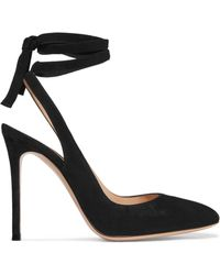Gianvito Rossi - Lace-up Suede Slingback Pumps - Lyst