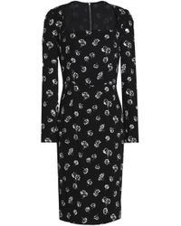 Dolce & Gabbana - Floral-print Crepe Dress - Lyst