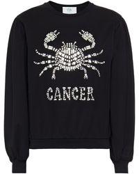 Alberta Ferretti Love Me Starlight Cancer Embellished Organic Cotton-jersey Sweatshirt - Black