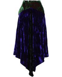 Christopher Kane Asymmetric Two-tone Crushed-velvet Midi Skirt Indigo - Blue