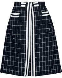 Thom Browne - Frayed Checked Wool And Cotton-blend Mini Skirt Midnight Blue - Lyst