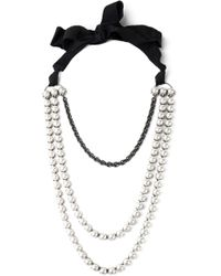 Lanvin - Silver-tone, Faux Pearl, Crystal And Grosgrain Necklace - Lyst