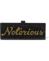Edie Parker Flavia Notorious Glittered Acrylic Box Clutch - Black