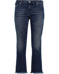 Love Moschino - Woman Cropped Embellished Mid-rise Bootcut Jeans Mid Denim - Lyst