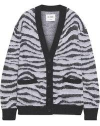 RE/DONE 90s Oversized Brushed Jacquard-knit Cardigan - Black