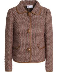 RED Valentino - Faux Leather-trimmed Houndstooth Woven Jacket Light Brown - Lyst