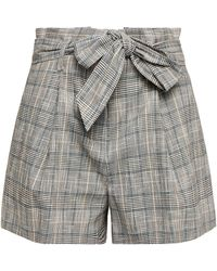 Veronica Beard Baga Belted Prince Of Wales Checked Cotton-blend Shorts - Grey
