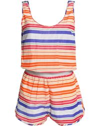 Stella McCartney - Striped Cotton And Silk-blend Playsuit - Lyst