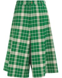 MM6 by Maison Martin Margiela Checked Crepe Shorts - Green