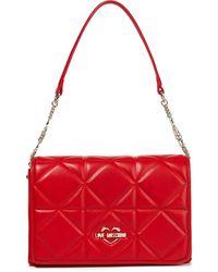 Love Moschino Schultertasche aus gestepptem kunstleder - Rot