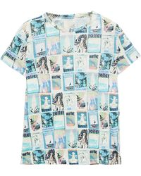 Zimmermann Glassy Printed Slub Linen-jersey T-shirt Light Blue