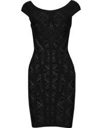Hervé Léger - Alisa Pointelle-knit Bandage Mini Dress - Lyst