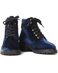 Sandro Aron military-stiefel aus gestepptem samt - Blau