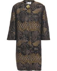 Lanvin Button-embellished Snake-print Brocade Jacket Black