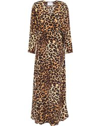 We Are Leone Leopard-print Silk Crepe De Chine Maxi Wrap Dress - Multicolour