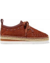 See By Chloé - Leather-trimmed Suede Platform Espadrille Trainers - Lyst