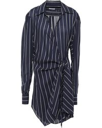 TOME Striped Chiffon Wrap Dress Navy - Blue
