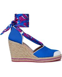 Emilio Pucci Leather-trimmed Printed Twill And Grosgrain Wedge Espadrilles Bright Blue